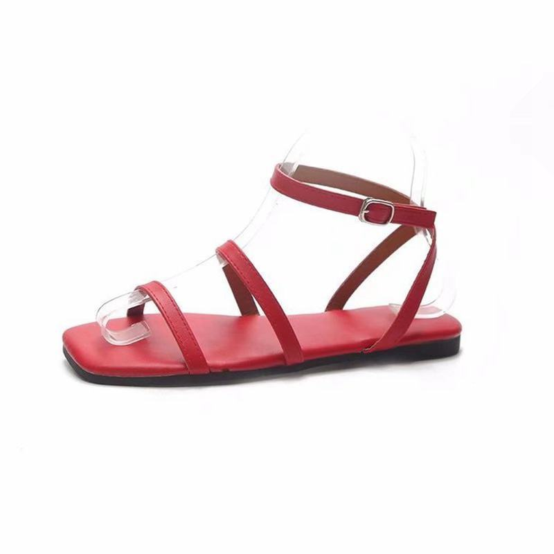 2018 new sandals word buckle with Roman style womens shoes simple flat sandals female.