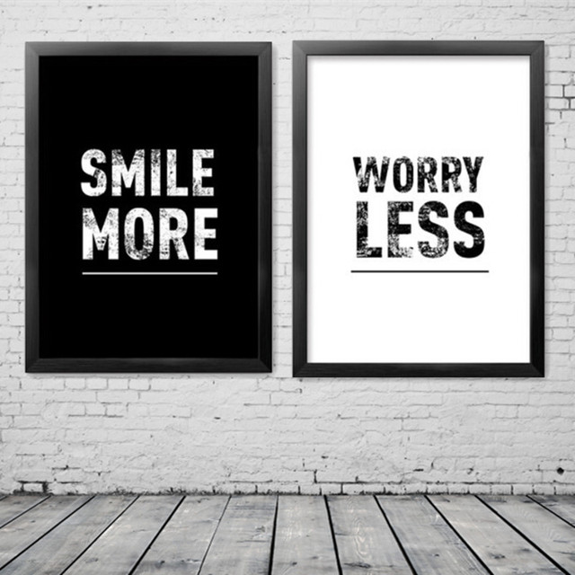 smile more worry less inspiration canvas painting poster wall