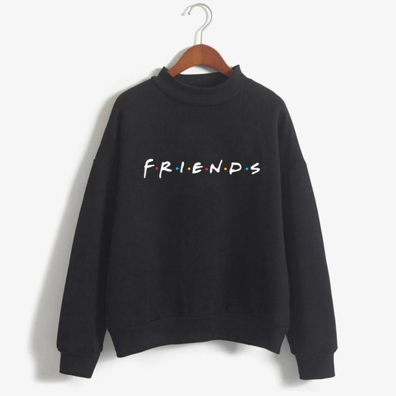 Friends Women Turtleneck Hoodies Sweatshirt Winter Kawaii Clothes Print Harajuku Plus Size Tee Top Femme Clothing