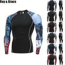 RAY GRACE 2 шт./компл. для мужчин сжатия бег трусцой облегающий костюм одежда спортивная длинная футболка брюки для девочек для тренажерного зала фитнеса тренировок одежда