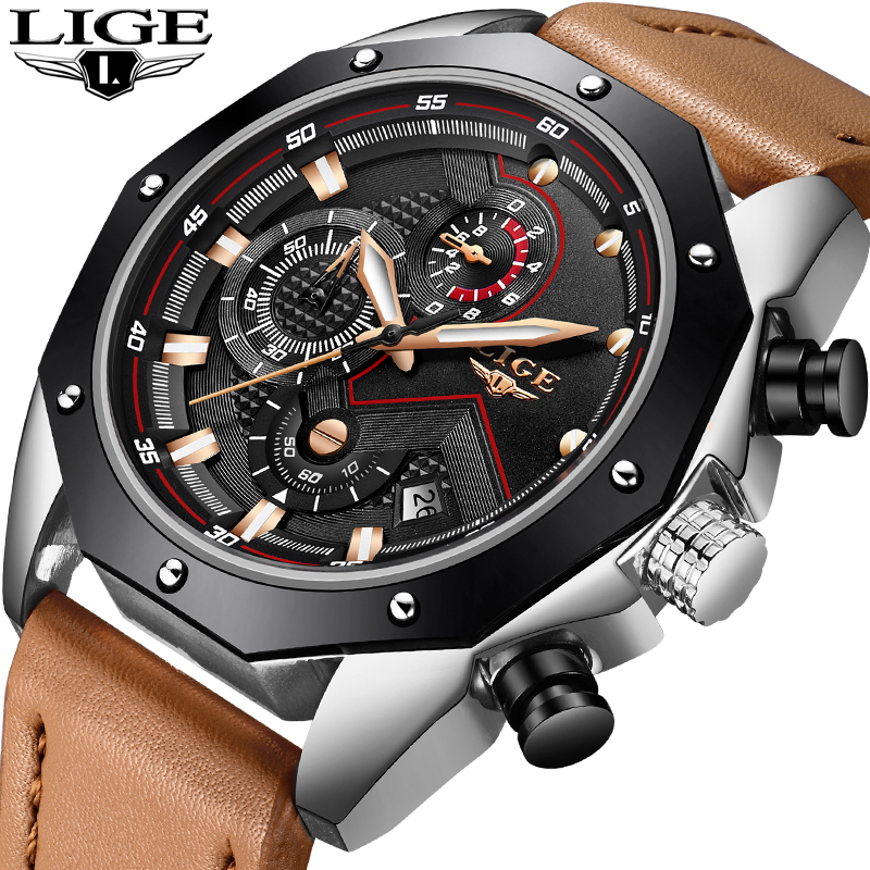 цена Men Watches LIGE Top Brand Luxury Leather Large Dial Sport Quartz Watch Men casual Waterproof Business Watch Relogio Masculino