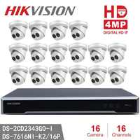 Hikvision NVR DS-7616NI-K2/16P 8MP Resolution Recording + 16pcs Hikvision DS-2CD2343G0-I 4MP EXIR CCTV Camera Security Camera