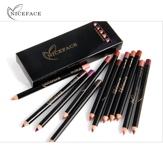 Niceface Pro 12pcs/set Colors Waterproof Lip Liner Pencil Long-lasting Eyebrow Eye Lip Cosmetics Trendy Beauty Makeup Kits