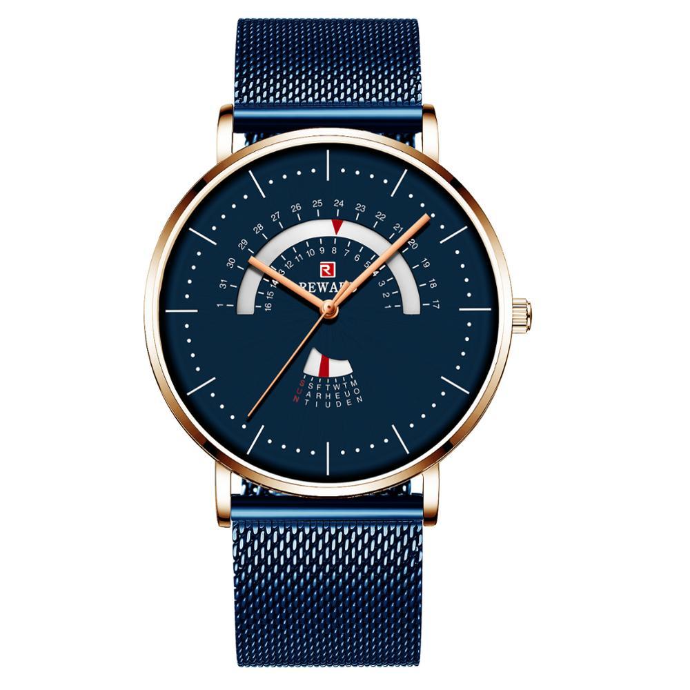 2019 REWARD Blue Mesh Belt Fashion Watch Men Watch Creative Turntable Calendar Week Waterproof Men's Watch Clock Reloj Hombre