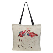 CROWDALE Double-sided bird Painted bag Women Large Linen Shopping Bag Handbag Bag Women Shoulder Cloth Pouch 43cm*43cm(China)
