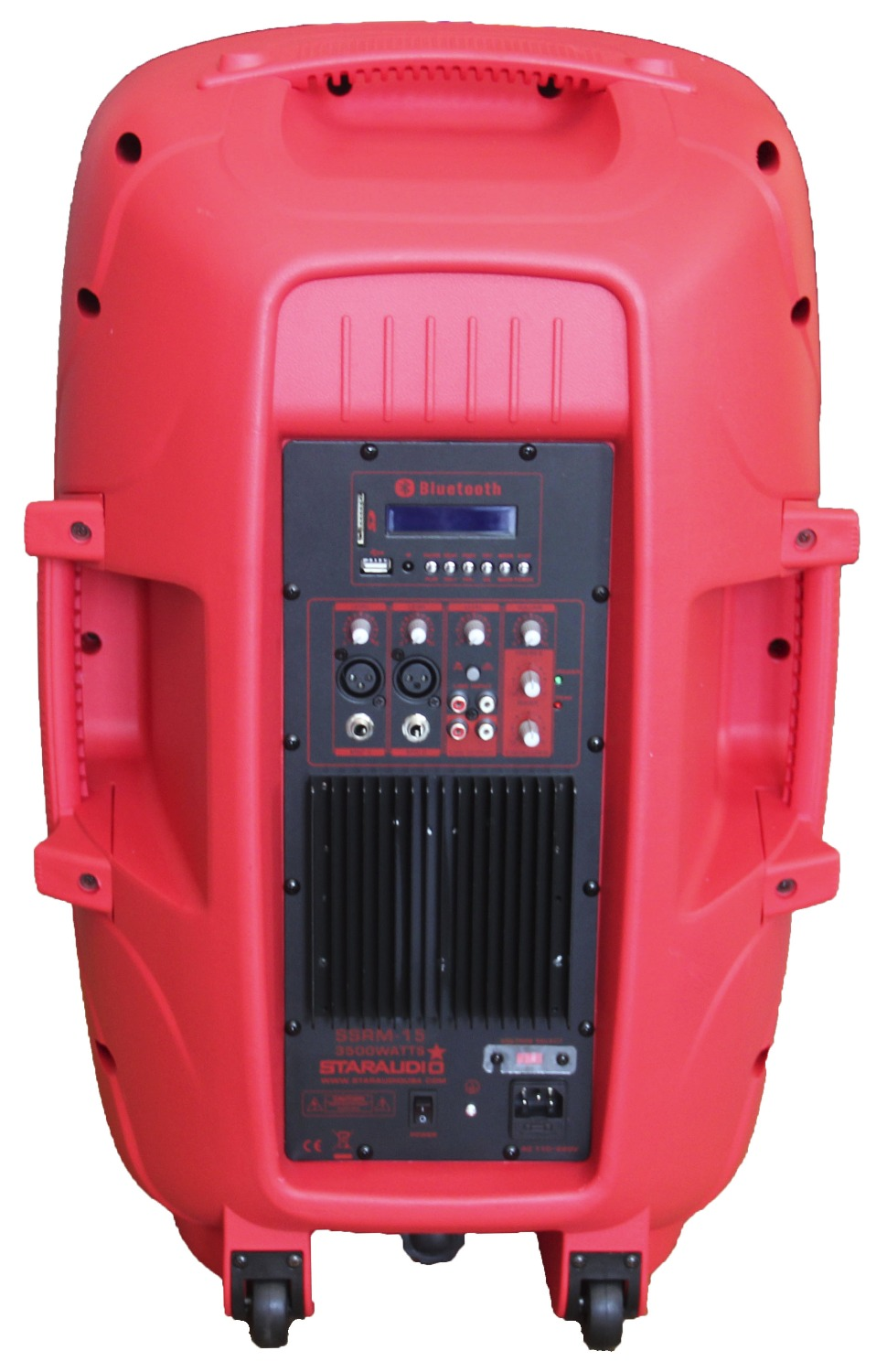 STARAUDIO Red PA DJ Stage 3500W 15 Powered Active USB SD FM BT Speaker with Stand Wired Mic 2CH UHF Mic System SSRM-15