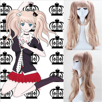 BOOCRE Anime Danganronpa Cosplay Enoshima Junko Headwear Wig Costumes Accessories Double Horsetail