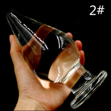 80mm Huge Large Big Size Pyrex Glass Anal Sex Toys Crystal Anal Butt Plug For Women and Men A23