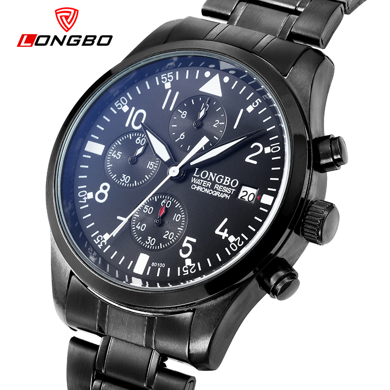 LONGBO Luxury Brand Black Army Sports Multifunction Calendar Men Watch Analog Display Date Luminous Business Wristwatch