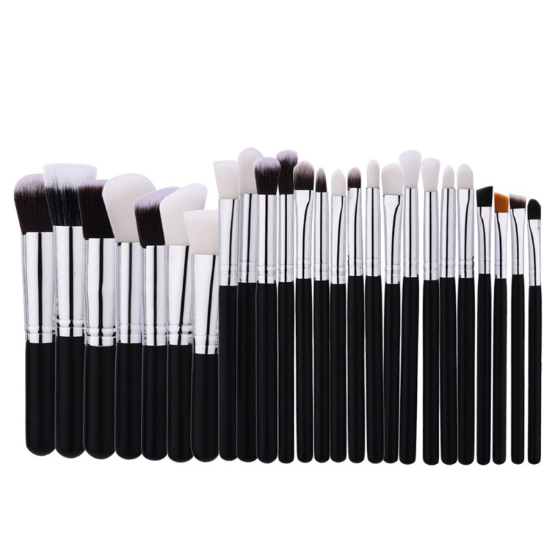 Black Patchwork Professional Makeup Brushes Sets makeupBrush tools kit Foundation Powder Blushes natural-synthetic hair