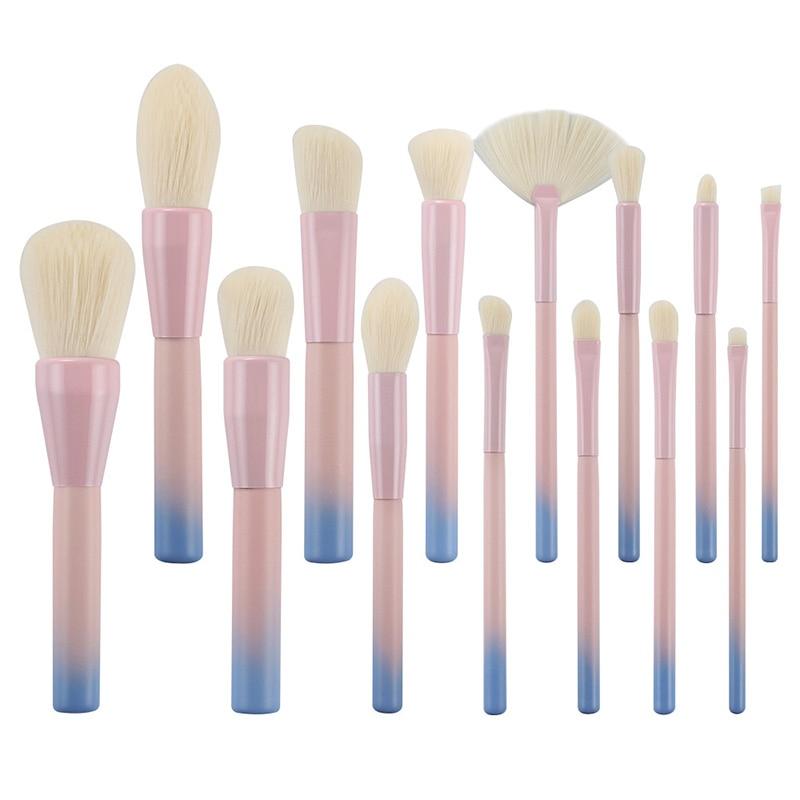 Offre spéciale 14 pièces Rose Vert Dégradé Maquillage pinceaux fond de Teint Puissance Licorne Kit de Brosse Cosmétique Beauté pinceaux