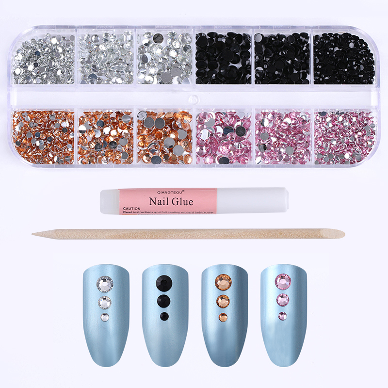 1 Box Shining Flat Bottom Nail Rhinestones 4 Colors 3D Nail Art Decorations with 1pc Nail Dotting Pen and 1pc Nail Glue artlalic 1 wheel new 3d nail decorations tools charm perfume bottle flowers triangle rhinestones diy nail art jewelry promotion