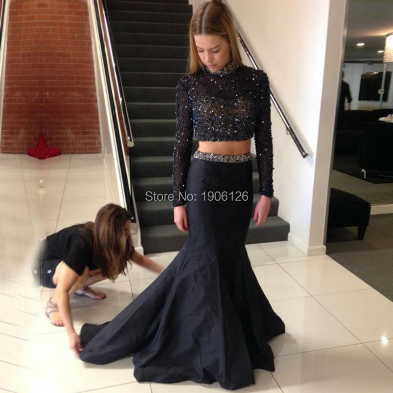 025d82f7ac5c6 Popular Black 2 Piece Long Sleeve Homecoming Dresses-Buy Cheap .