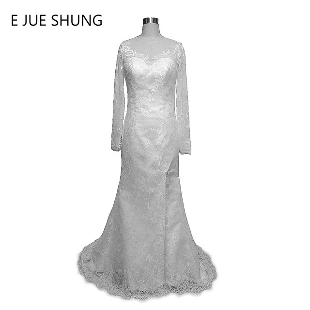 E JUE SHUNG Vestido De Novia White Lace Mermaid Wedding Dresses Side Slit Long Sleeves