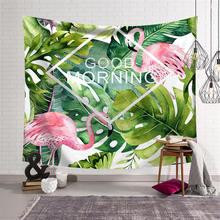 Nodic Flamingo Leaf Print Tapestry Picnic Blanket Mat Tapestry Travel Picnic Blanket Yoga Mat Beach Towel Table Cloth Home Decor flamingo print table mat