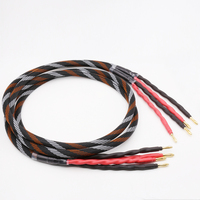 Pair hifi speaker wire, audio cable, professional hifi speaker wire, 4N oxygen free copper, banana Y plug speaker cable