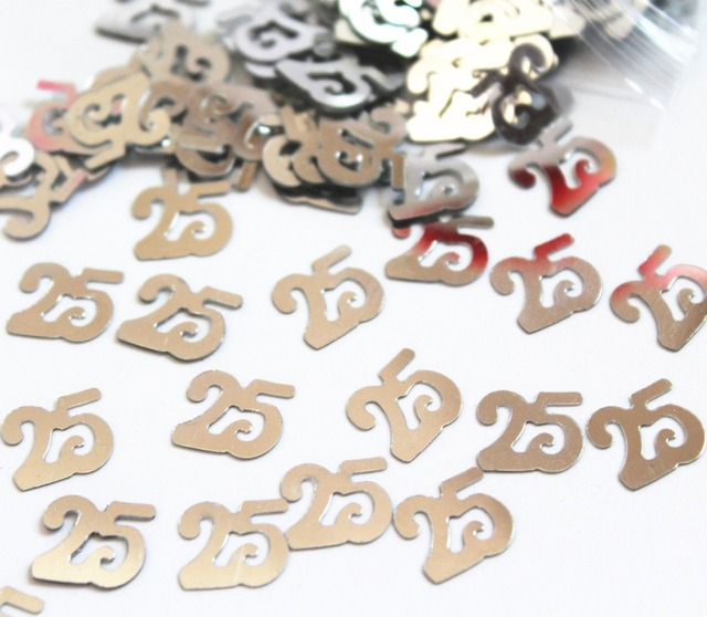 Silver Wedding Table Confetti 25th Anniversary Birthday Decorations Value Pack