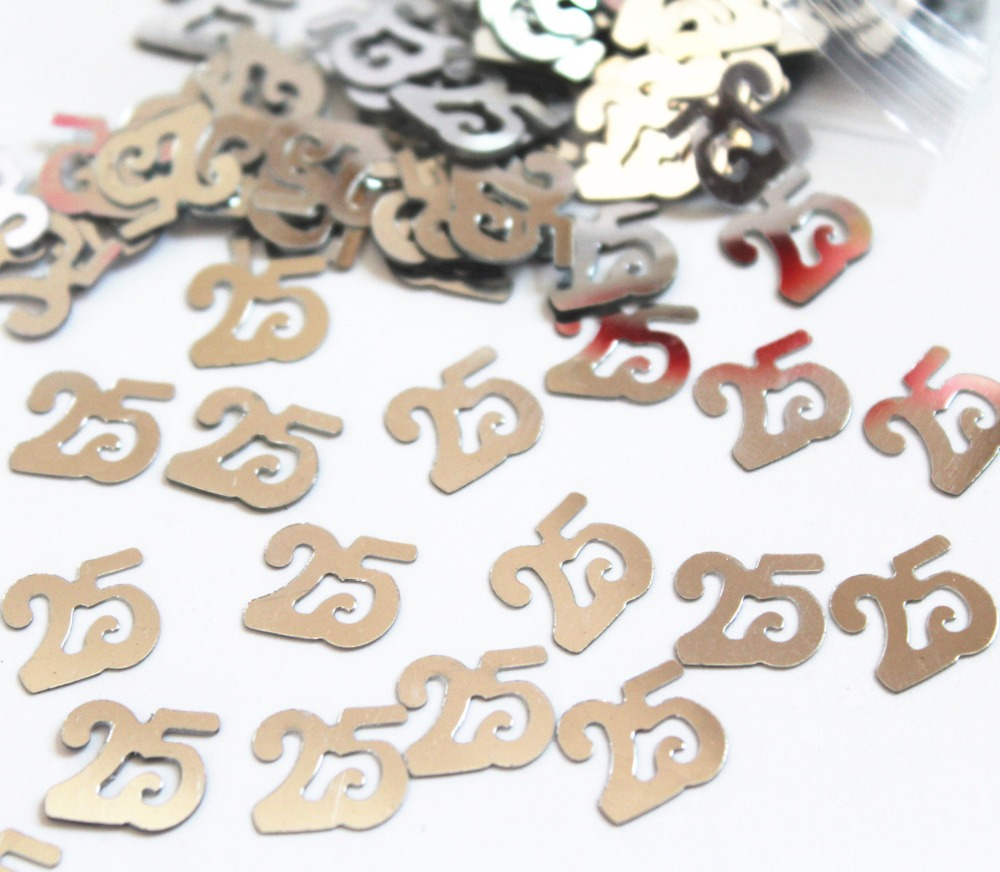 Silver Wedding Table Confetti 25th Anniversary Birthday Decorations Value Pack China