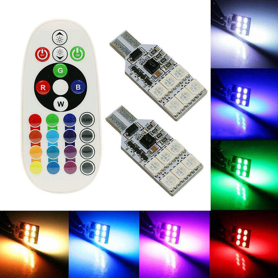2PCS 5050 SMD RGB T10 194 168 W5W Car Reading Wedge Light  6LED 12LED 16 Colors LED Bulb With Remote Control Flash/Strobe Lamp 2x t10 w5w 168 194 smd 6 led 5050 remote control rgb car reading wedge lights for car tail light side parking door lighting