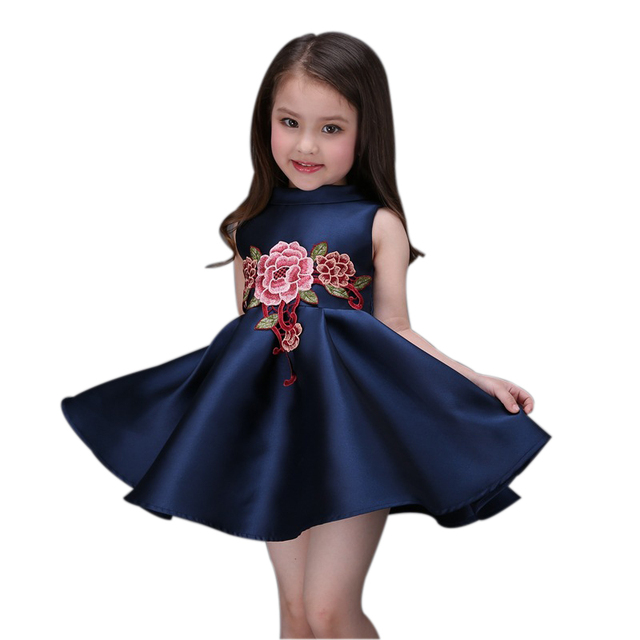 2016 summer leisure style children girls flower Chinese Style dress baby girls cute bow  dress kid lapel fashion dress outfits
