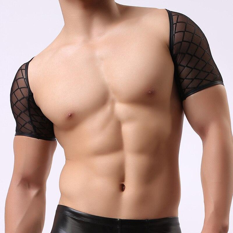 Man Wrestling Singlets Male Funny Mesh Fishnet See Through Crop Tops  Undershirts Gay Sexy Plaid Sheer Vest Underwear c9231549a