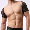 Marca de moda 2017 Negro Malla Mallas Sexy Man Fitness Musculación Crop Tops/Gay Divertido Medio Camisetas de Manga Corta