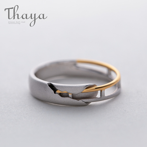 Image 5 - Thaya Train Rail Design Moonstone Lover Rings Gold and Hollow 925 Silver Eleglant Jewelry for Women Gemstone Sweet Gift