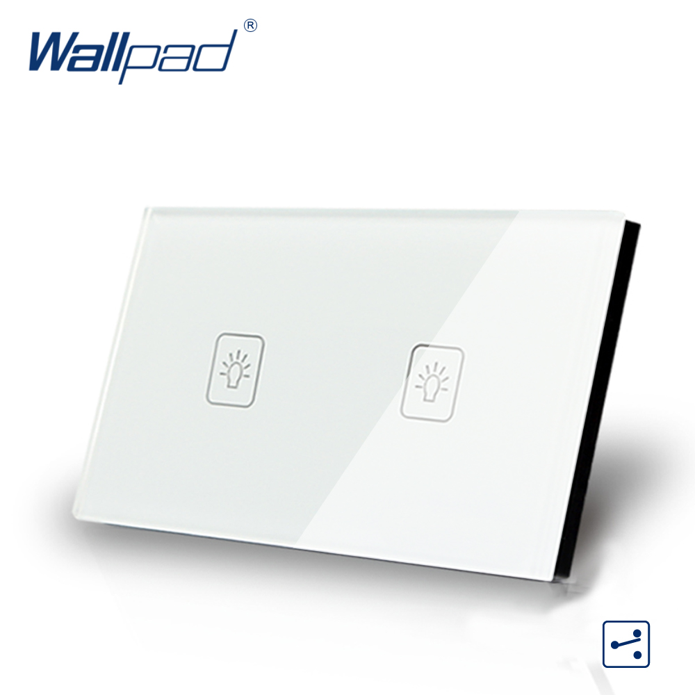 2 Gang 2 Way 3 Way White AU US Standard 118*72mm Wallpad Crystal Double Control Light Wall Switch Touch Switch,  Free Shipping 3 gang 1 way 118 72mm wallpad white glass touch wall switch panel led 110v 250v au us switching power supply free shipping