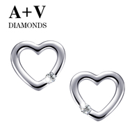 Free Shipping 18k White Gold Or Rose Gold Nature Diamond Romantic Heart Stud Earring For Women