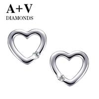 Free Shipping 18k White Gold Or Rose Gold Nature Diamond Romantic Heart Stud Earring For Women