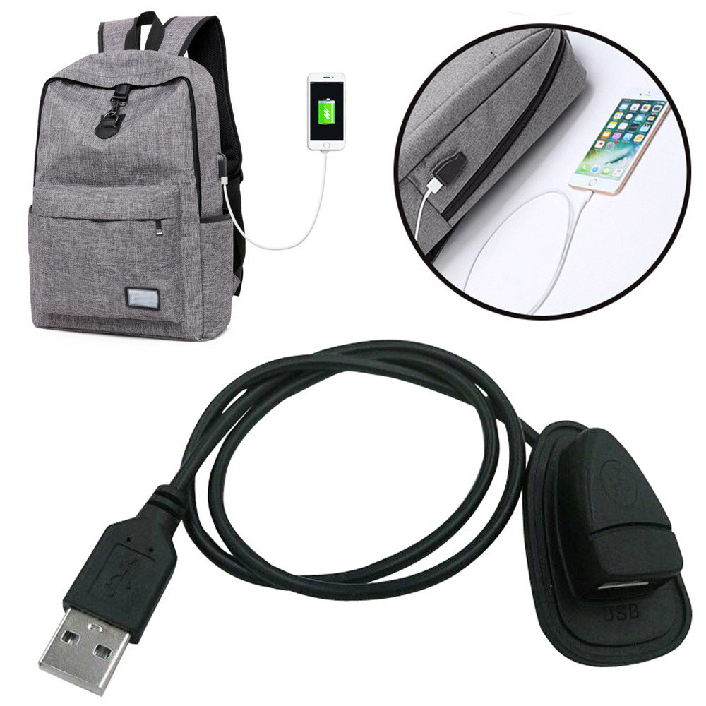 2018 New Black Backpack External USB Charging Interface Adapter Charging Cable #NE827