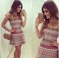 Mulheres slim vestido com cinto impresso roupas cinta sling vestidos mini vestidos de festa sexy clube vestido T582