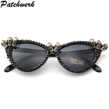 ee1925ff77 2019 De Luxe Crâne lunettes de soleil rondes Femmes Marque Designer Vintage  Shades Strass lunettes de soleil pour Hommes