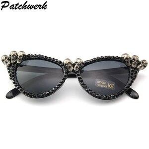 2020 Luxury Skull Round Sunglasses Women Brand Designer Vintage Shades Rhinestone Sun Glasses for Men(China)