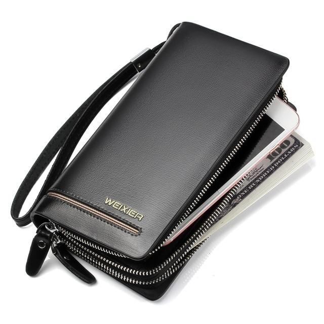 784113c8eeab Wholesale New PU Leather Men Wallets Double Zipper Money Clip Male Walet  Fashion Male Purses Long Phone Wallet Man's Clutch Bags