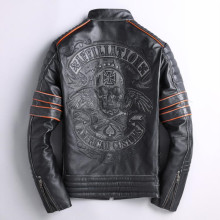MAXMACCONE 2019 Vintage Black Men Skulls Embroidery Slim Fit Leather Jacket Short