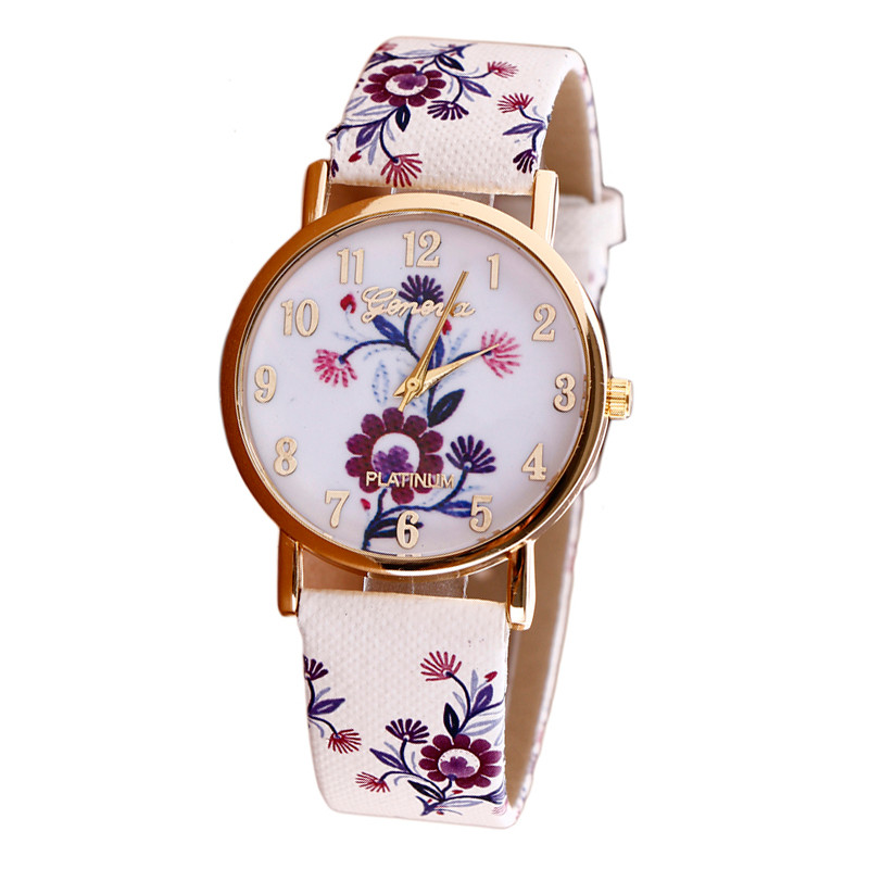 Watch Women Luxury Flower Patterns Leather Band Analog Quartz Vogue Wrist Women's Watches Quartz Watch relogio feminino стоимость