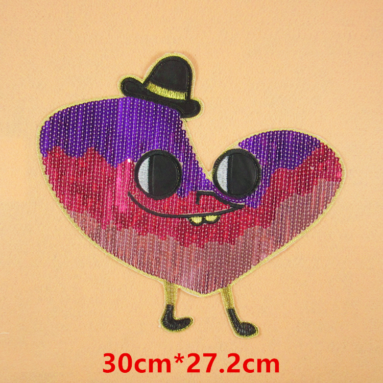 Colorful heart sequined applique patch cute eye heart patch T-shirt decoration patch 2 pcs/lot