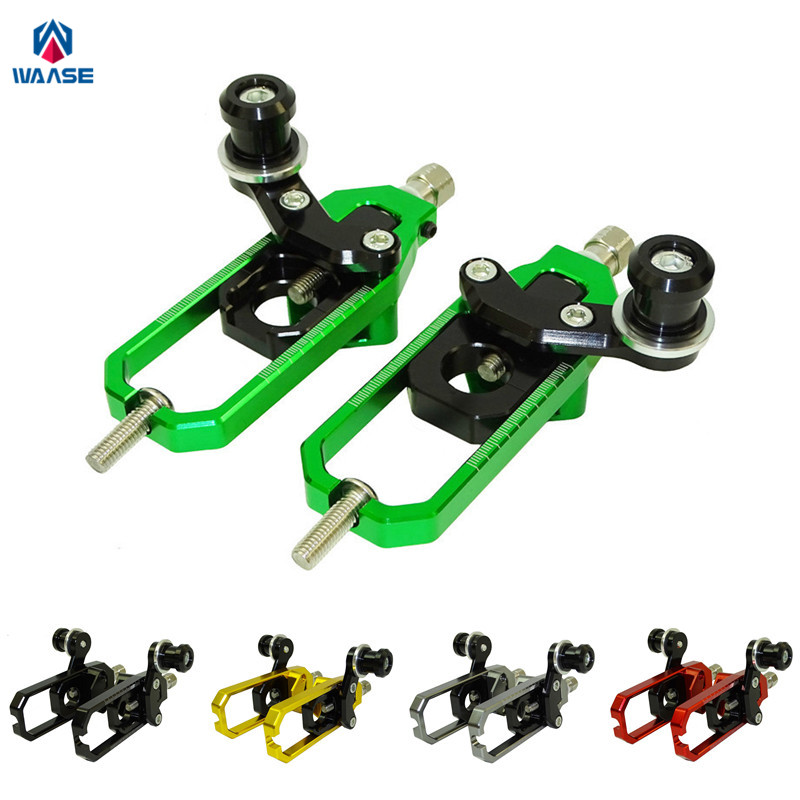 waase ZX10R Motorcycle Left & Right Chain Adjusters with Spool Tensioners Catena For Kawasaki Ninja ZX-10R 2008 2009 2010 waase left