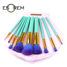 ESOREM 10 Pcs Makeup Brushes With Shell Bag Cosmetic Brush Setsmall Stippling Tapered Blush Eyeliner Pinceaux Maquillage