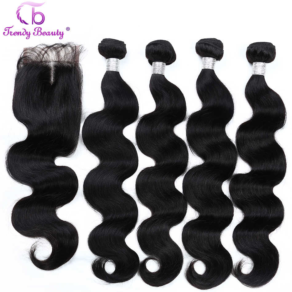 Trendy Beauty Brazilian body wave hair 4bundles with closure 4x4 inches human hair extensions Bundles with closure Non-remy