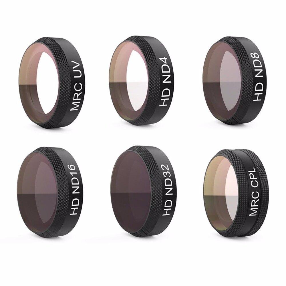 6pcs/set PGYTECH Lens Filters Camera Filter Set Thread Version(UV ND4 ND8 ND16 ND32 CPL)for DJI MAVIC AIR 6pcs set pgytech original lens filters for phantom 4 pro drone accessories g hd mcuv nd4 nd8 nd16 nd32 cpl hd filter