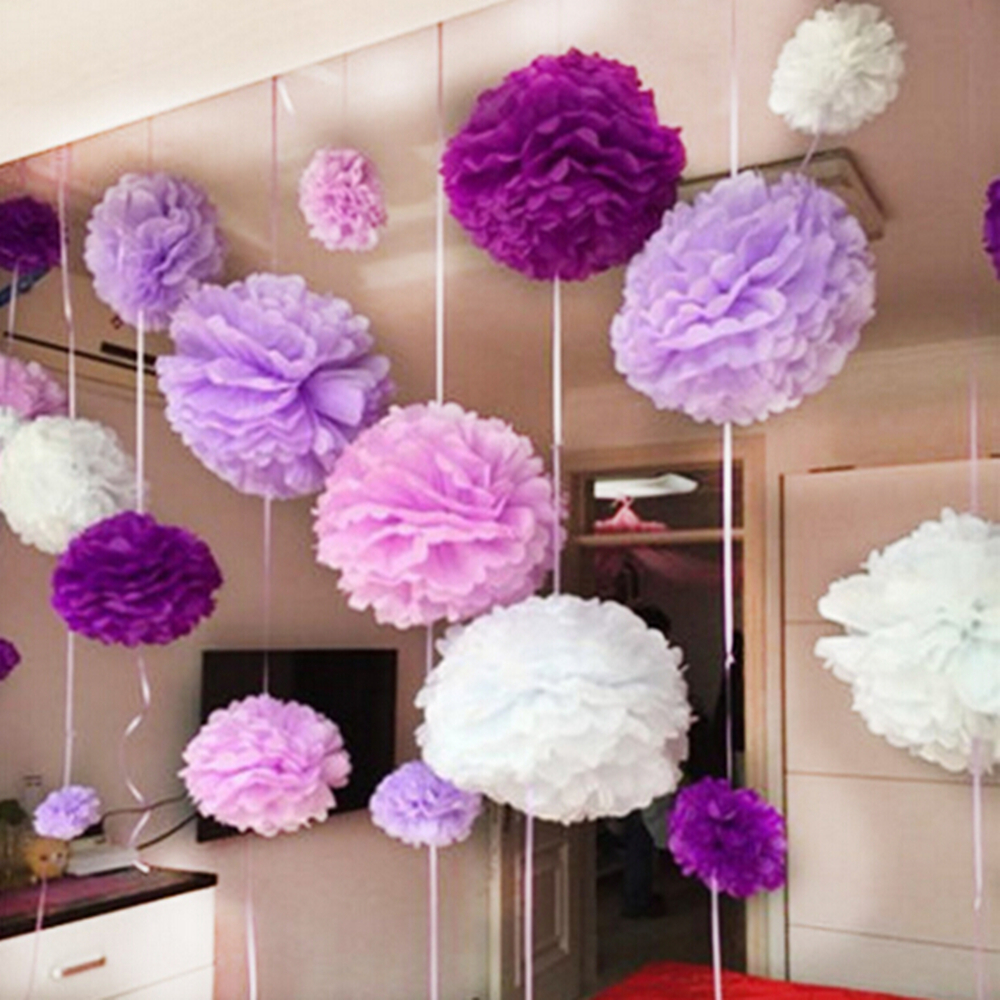 5pcs paper pompom tissue flower balls 25cm home wedding for Automobile decorations home