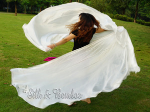 "Image 3 - 1 PIECE solid white 2.7m*1.14m(3 yard*45"")  6mm habotai real silk belly dance half circle veil."