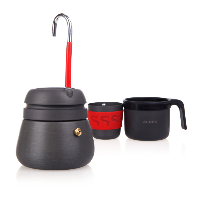 New Outdoor Appliances Anodized Aluminum 350ml Portable Camping Hiking Fishing Picnic Coffee Maker Pot with 2 Cups Coffee Tools