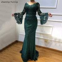 Emerald Green Arabic Evening Gowns Dresses With Long Sleeve Lace Appliqued Women Prom Formal Gowns Abendkleider Lang