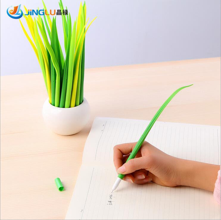 5 Pcs / Pack Tiny Green Grass Gel Pen Blade Grass Potting Decoration Zakka Stationery Caneta Office Supplies Material School fish tank decoration grass hillside green