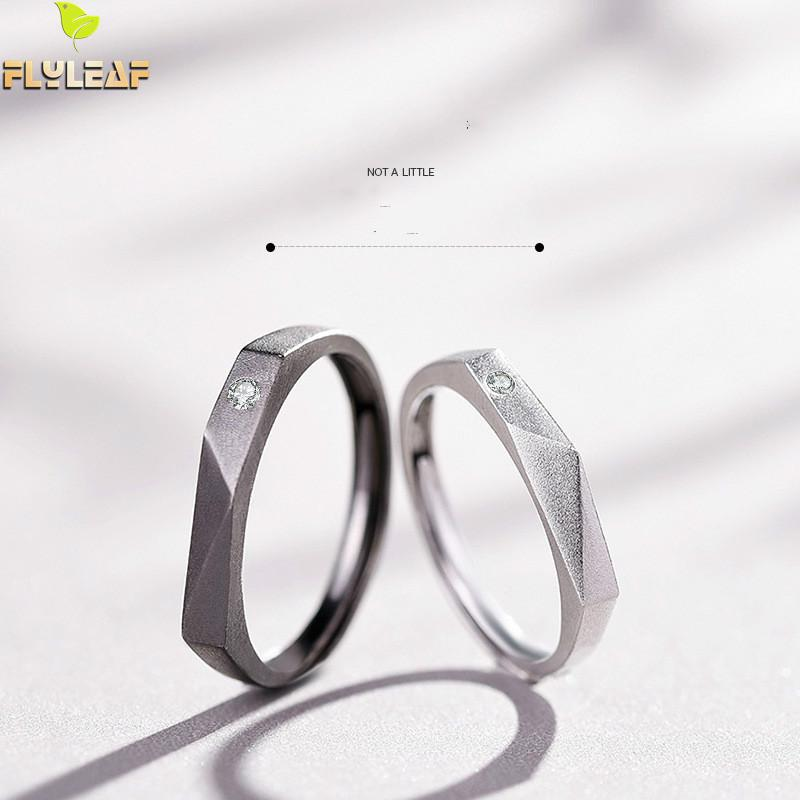 <font><b>925</b></font> <font><b>Sterling</b></font> <font><b>Silver</b></font> <font><b>Rings</b></font> <font><b>For</b></font> Women Cubic Zirconia Water Chestnut Couple Open <font><b>Ring</b></font> <font><b>Men</b></font> Femme Fine Jewelry Student Gift Loves' image
