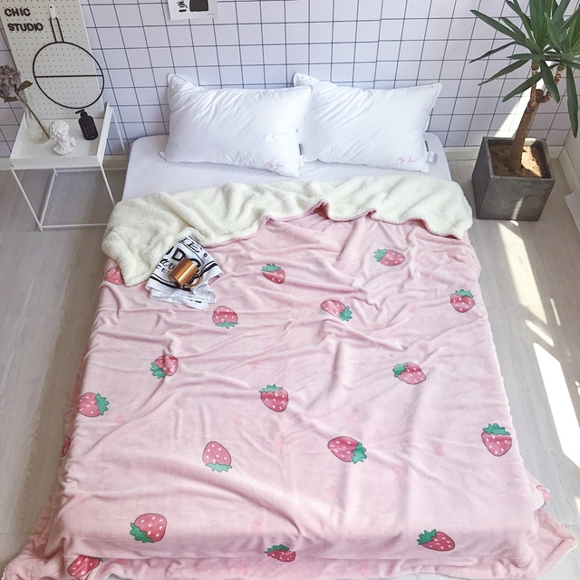Us 35 4 50 Off Aliexpress Com Buy Throw Blanket High Quality Sheep Blankets Soft Fleece Throw Strawberry Print Travel Blanket Airplane