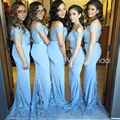 Light Blue Satin Lace Applique Open V Back Cap Sleeves Long Bridesmaid Dresses For Wedding Party